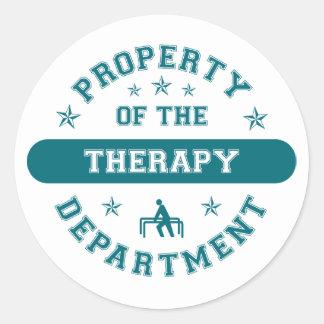 Propiedad del departamento de la terapia pegatina redonda