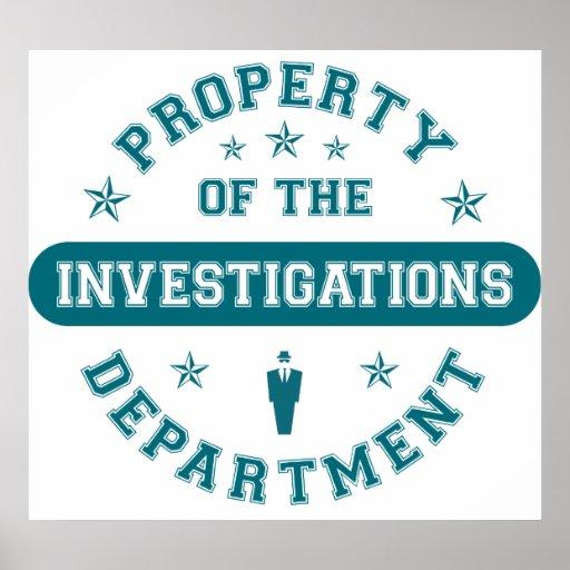 Propiedad del departamento de las investigaciones poster