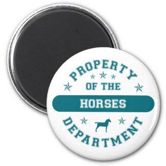 Propiedad del departamento de los caballos imán redondo 5 cm