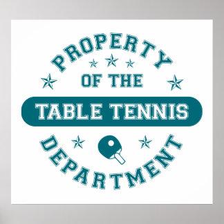 Propiedad del departamento de los tenis de mesa póster