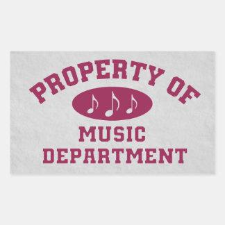 Propiedad del departamento de música pegatina rectangular