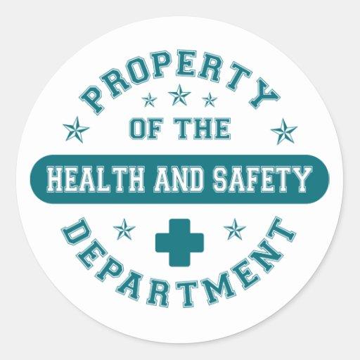 Propiedad del departamento de salud y de la seguri pegatinas redondas