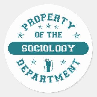 Propiedad del departamento de sociología pegatina redonda