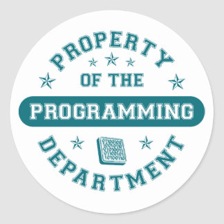 Propiedad del departamento programado pegatina redonda