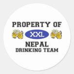 Propiedad del equipo de consumición de Nepal Pegatina Redonda