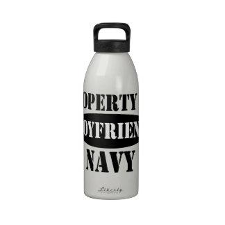 Propiedad del novio de la marina de guerra botellas de agua reutilizables