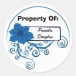 Propiedad del pegatina (azul floral)