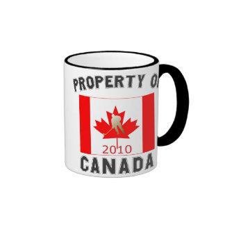 Propiedad del recuerdo 2010 de la bandera del taza a dos colores