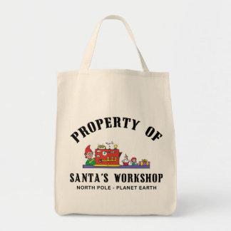 Propiedad del regalo del taller de Santa Bolsa Tela Para La Compra