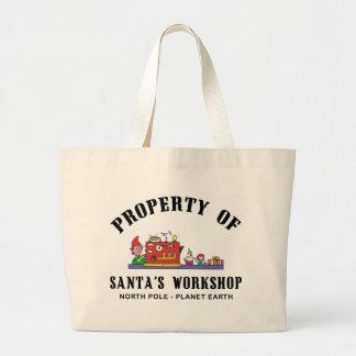 Propiedad del regalo del taller de Santa Bolsa Tela Grande