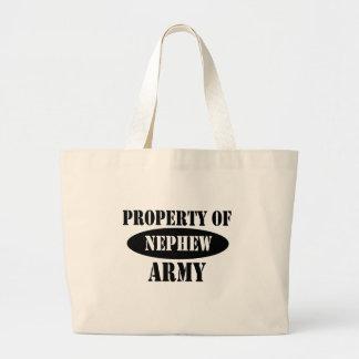Propiedad del sobrino del ejército bolsas lienzo
