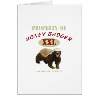Propiedad del tejón de miel tarjeta de felicitación