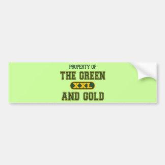 Propiedad del verde y del Gold1 Pegatina Para Auto