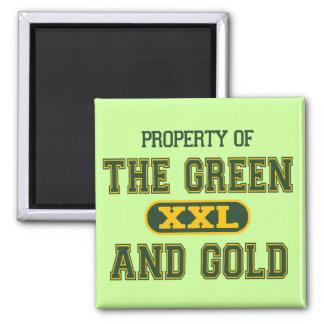 Propiedad del verde y del Gold1 Imán Cuadrado