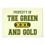 Propiedad del verde y del Gold1 Invitación 12,7 X 17,8 Cm