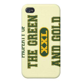 Propiedad del verde y del Gold1 iPhone 4/4S Funda