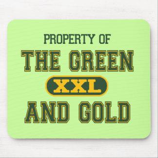 Propiedad del verde y del Gold1 Mouse Pad