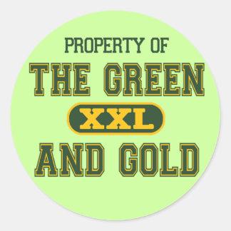 Propiedad del verde y del Gold1 Pegatina Redonda