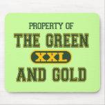 Propiedad del verde y del Gold1 Alfombrillas De Ratones