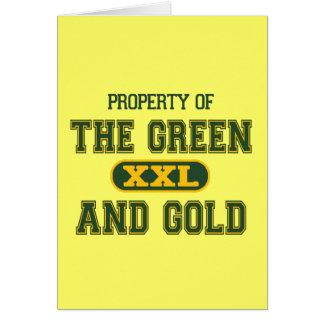 Propiedad del verde y del Gold1 Tarjeta De Felicitación