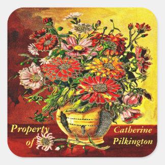 Propiedad personalizada de las flores del vintage pegatina cuadrada