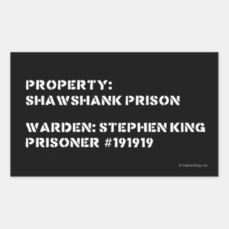 Propiedad: Prisión de Shawshank Pegatina Rectangular