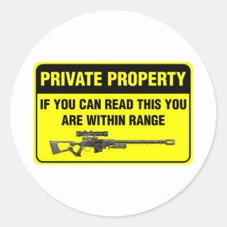 Propiedad privada pegatina redonda