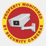 Propiedad supervisada por las cámaras de seguridad pegatinas redondas