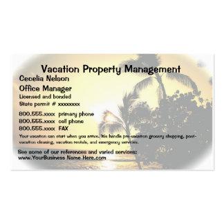 Propiedades inmobiliarias de las vacaciones o tarjetas de visita