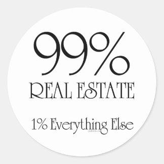 Propiedades inmobiliarias del 99% pegatina redonda