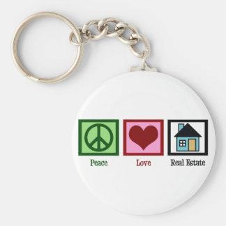 Propiedades inmobiliarias del amor de la paz llaveros personalizados
