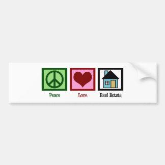 Propiedades inmobiliarias del amor de la paz pegatina para auto