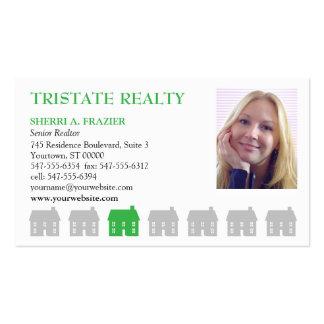 Propiedades inmobiliarias del verde de las casas tarjetas de visita