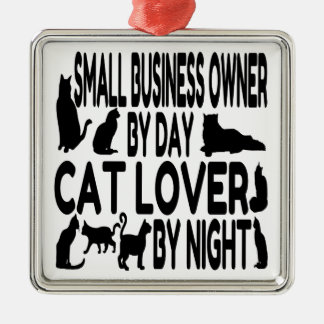 Propietario de negocio del amante del gato pequeño adorno navideño cuadrado de metal