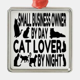 Propietario de negocio del amante del gato pequeño adorno cuadrado plateado