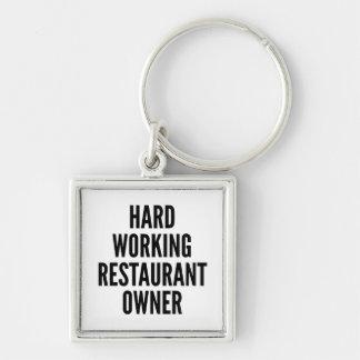 Propietario de restaurante de trabajo duro llavero cuadrado plateado