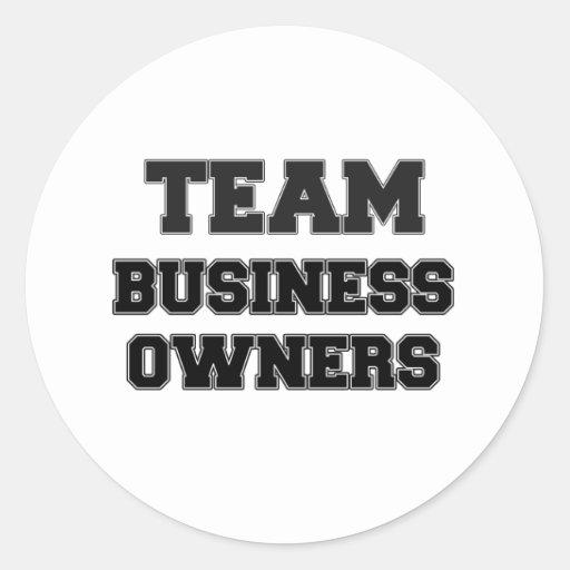 Propietarios de negocio del equipo etiquetas redondas