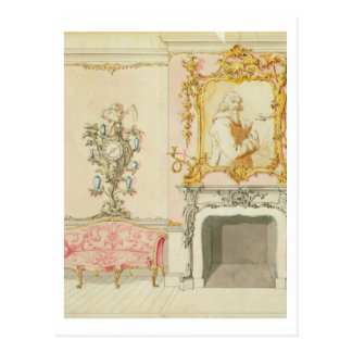Proposal for a drawing room interior, 1755-60 (w/c postcard