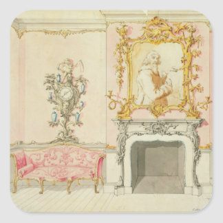 Proposal for a drawing room interior, 1755-60 (w/c square sticker
