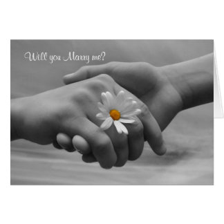 Proposal, Marry me Card with hands and daisy