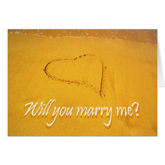 Proposal, Marry Me? Loveheart on beach. Card