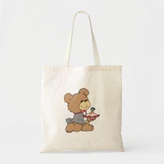 proposal or ring bearer teddy bear design tote bags