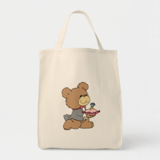 proposal or ring bearer teddy bear design grocery tote bag