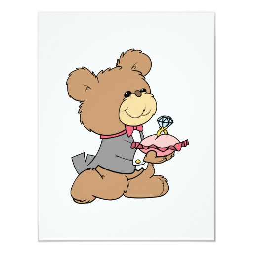 proposal or ring bearer teddy bear design 4.25x5.5 paper invitation card