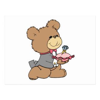 proposal or ring bearer teddy bear design postcard
