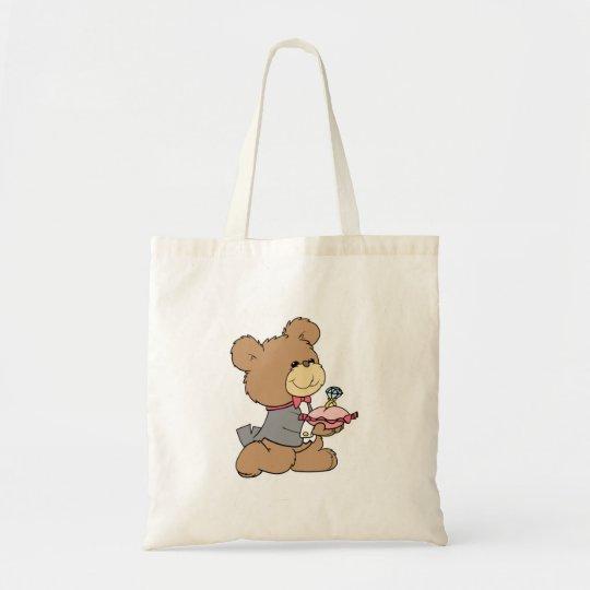 proposal or ring bearer teddy bear design tote bag