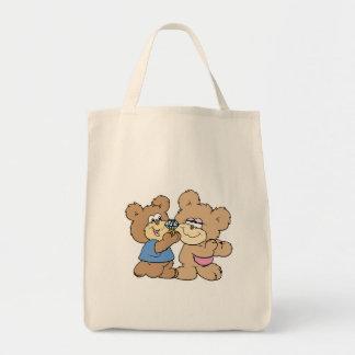 proposal wedding bears grocery tote bag