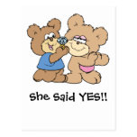 proposal wedding bears postcard