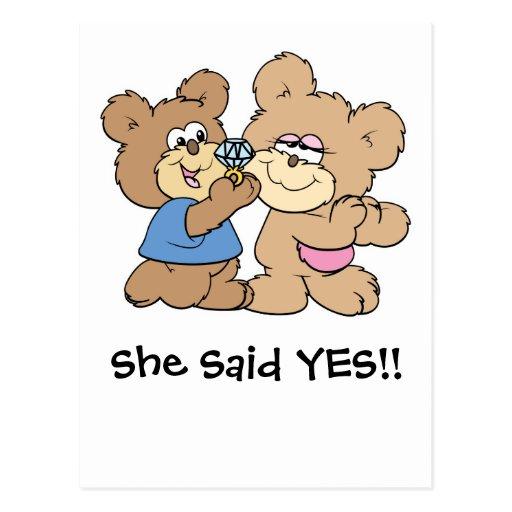 proposal wedding bears post card