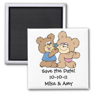 proposal wedding bears save the date 2 inch square magnet